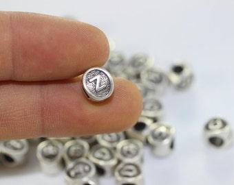 4 pcs Letter Z antique silver alphabet beads 7.5x8.5mm - alphabet letters beads - initial charm beads - beads for European style bracelets