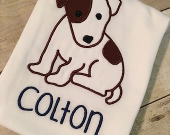 Jack Russell puppy applique! FREE Personalization! Puppy can be done in other colors too!