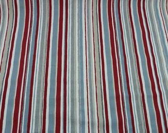 Stripe Cotton Fabric - Grey-Blue-Red-White- Panama - Soft Furnishing - Children's Fabric - Prestigious Zoom - Graphite - Playtime Collection