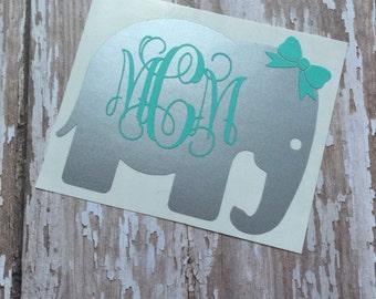 Elephant Car Stickers Girl Walking A Hippo Vinyl Decal Sticker - Elephant monogram car decal