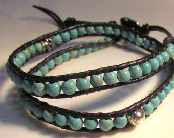 Skull Turquoise Leather Wrap Bracelet