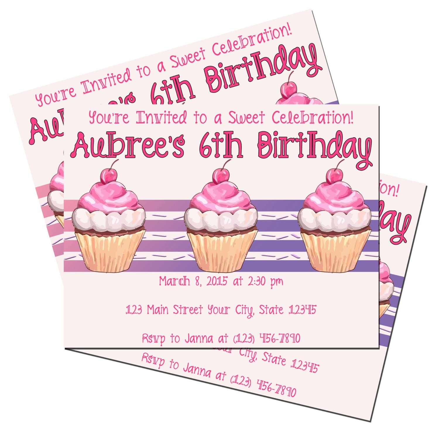 Cupcake Birthday Invitations - Cupcake Invitations - Birthday ...