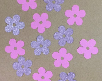 Flower Confetti Grape 'POW' Brand (Purple) Glitter & Pink Card Stock Die Cut Announcements Scrapbook Stationery Party Birthday Decorative