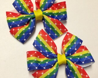 """Set of 2 pigtail bows - 3.5"""" Rainbow stripe hair bow clip grosgrain ribbon piggies barrette birthday party favor toddler teen adult baby"""
