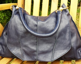 Vintage Leather Satchel bag/purse - large blue leather satchel shoulder bag purse, vintage leather hobo purse