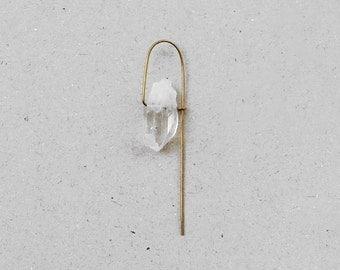 Minimal Crystal 14k Gold Filled Wire Dangle Single Earring