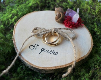 Rustic RING BEARER Pillow Wood Slice, Personalized, Country Wedding, amethyst wedding, crystal wedding,  Wood Slice Wedding Decor