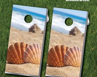 Beach Shells Cornhole Game With Cornhole Bags