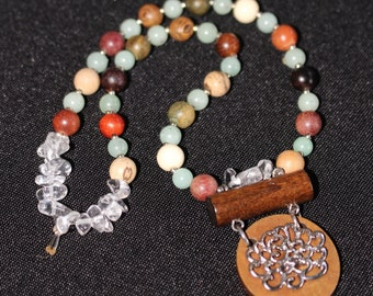 Jade, Wood & Quartz Crystal Necklace with Wooden Lotus Pendant Necklace