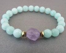 Amazonite Bracelet for her Gift for sister Bracelet for mom Bracelet women Mint Bracelet Beaded Bracelet womens gift Amethyst Crystal