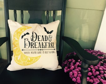 """18"""" x 18"""" Dead and Breakfast Throw Pillow 