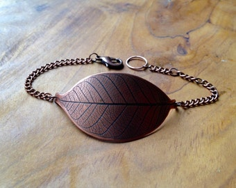 Copper Leaf Imprint Bracelet