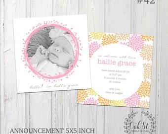Baby Girl Birth Announcement, Newborn, Baby Dedication Announcement, Christening Announcement, Design #42
