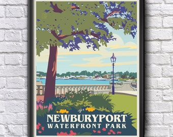 Newburyport Waterfront Park Optional Custom Wedding Leslie McGrath Custom Art Giclee Print Newburyport, Massachusetts
