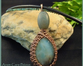 Amazonite in copper pendant with African turquoise