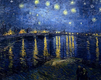Vincent van Gogh's Starry Night Over the Rhone PDF Cross Stitch Pattern