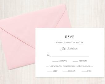 RSVP Card, Wedding RSVP Card, Response Card, Reply Card,