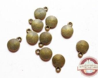 20 sequins brass bronze ethnic 8x11Mm round charm