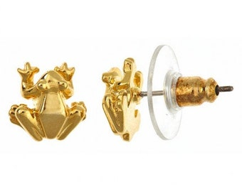 Frog Prince Stud Earrings, 18Kt Gold Plated - Harrison Morgan