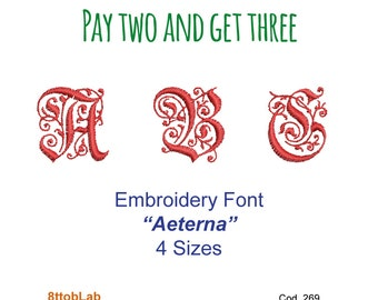 Embroidery design font aeterna cup