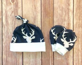 Deer baby knot hat, and no scratch mittens, newborn set - bucks head navy blue. PLEASE SEE DESCRIPTION