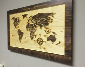 wood us map wall art carved united states map us map by howdyowl. Black Bedroom Furniture Sets. Home Design Ideas