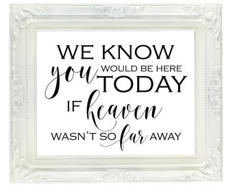 We know you would be here today if heaven wasn't so far away, Wedding memorial sign, remembrance sign, wedding reception sign, ceremony sign