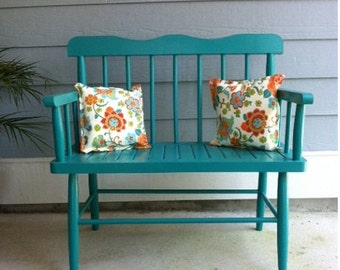 vintage turquoise bench