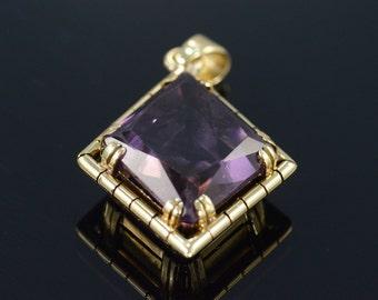 14K Antique 15 Ct Amethyst Diamond Cut Fancy Bezel Pendant Yellow Gold
