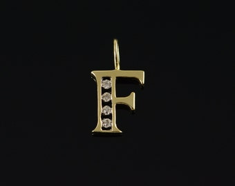 14K Diamond Accented 'F' Letter Monogram Charm/Pendant Yellow Gold