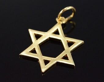 14K Star of David Jewish Star Charm/Pendant Yellow Gold