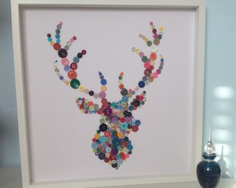 Stags Head, Mothers day, Gift Idea, Button Art, Stag Themed Gift, Button Stag, House Warming Gift, Large Wall Art, Colourful Wall Hanging