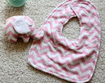 Baby Bib and elephant toy set - Handmade Gift