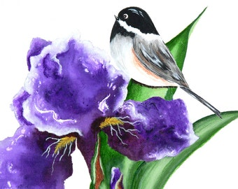Artist Trading Cards, ACEO Prints, ACEO Cards, Matted ACEO Print, Acrylic Miniature Print, Chickadee & Purple Iris Collectible, Art Card