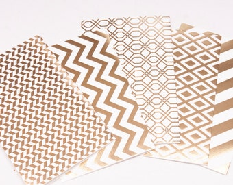 Set of 5 blank cards with mixed golden pattern, Gold foil cards and envelopes