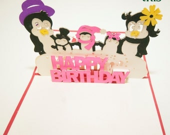 3D Pop-up Birthday Card, Laser-cut Greeting Card, Little Penguin Birthday Card
