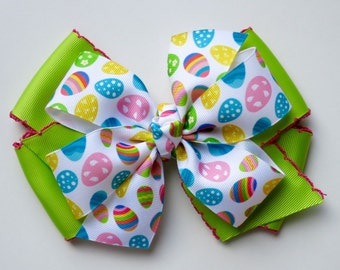 Easter Egg Boutique Bow | Spring Hair Bow for Girls