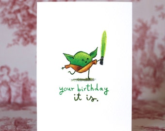 Cute Yoda Birthday Card