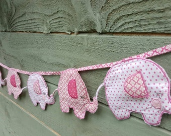 Elephant bunting, Pink for a baby girls Nursey 1.7m long