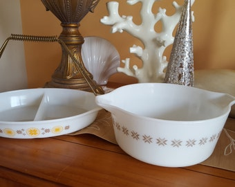 """Set of Vintage Pyrex """"Town and Country Pattern #475 2 1/2 Quart Casserole With Lids mid-century pattern, retro kitchen decor"""
