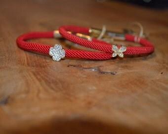 Red Silk Charm Bracelet