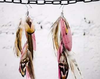 Feather Earrings | Pink | Natural