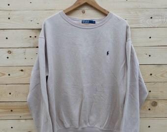 Vintage Polo Ralph Lauren Cream Crewneck Jumper Hip Hop Sweatshirt Size Small