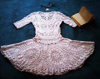 Crochet Wedding Dress/ Vintage Wedding Dress/ Short Boho Wedding Dress - Dream in Ivory