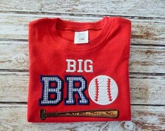 BIG BROTHER Shirt; Boy's red shirt; Brother shirt; Baseball shirt; Boys red short sleeve shirt