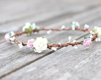 Blush Flower Crown, Toddler Flower Crown, Baby Flower Crown, Easter Flower Crown, Rose Wedding Hair Wreath, Pink Floral Crown Spring Halo
