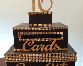 Black box with gold bling, gold 16 topper