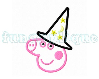 peppa pig halloween  Applique design for Machine Embroidery instant download 3 sizes