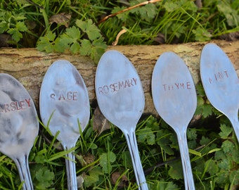 Upcycled Tea Spoon Plant herb Label