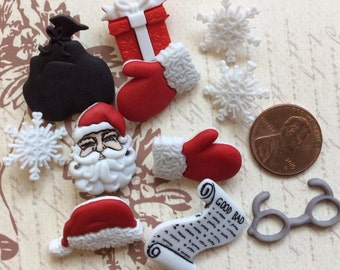 SET OF 11 Waiting for Santa Christmas Buttons/ Novelty buttons/Holiday Buttons/shank buttons/flatbacks